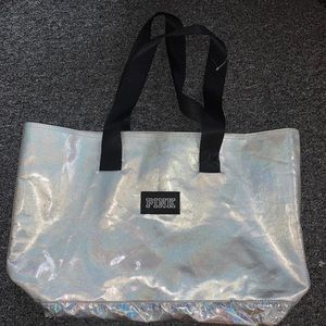PINK holographic tote bag